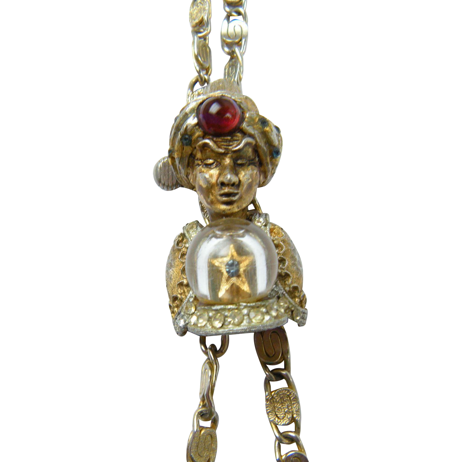 RARE Har Genie with Crystal Ball Lariat Necklace