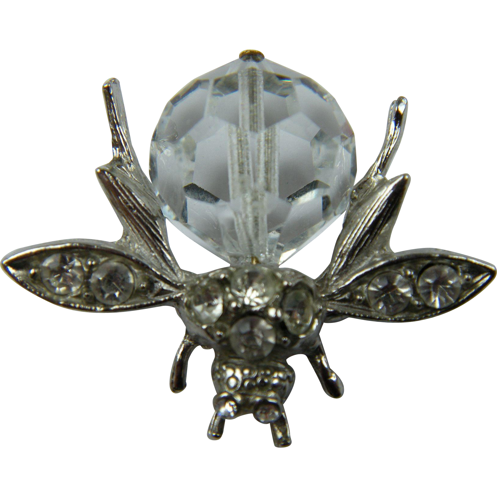 Signed PELL Bug Brooch with Huge Crystal Body