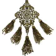 Huge Ornate Pendant Necklace with Dangling Chains