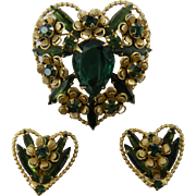 Signed WEISS Demi Parure Heart Brooch with Matching Clip Earrings