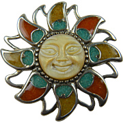 Amazing Sterling Silver Sun Brooch with Inlaid Gemstone Accents