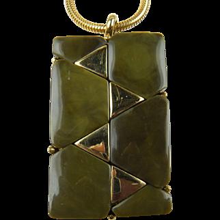 Imitation Jade 1970's Modernist Pendant