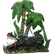 Figural Brooch Hungry Alligator with Palm Trees and Rhinestones