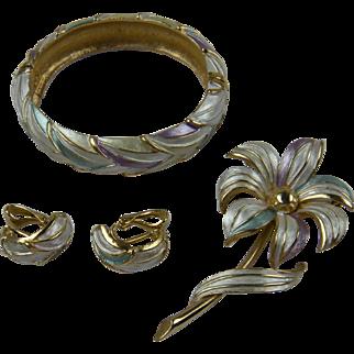 Signed KRAMER Parure with Bracelet, Earrings, and Brooch