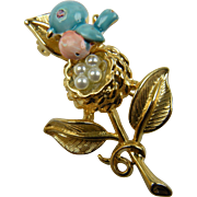 Signed Trembler Brooch Bluebird with Imitation Pearls