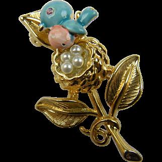 Signed Trembler Brooch Bluebird with Imitation Pearls
