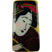 Geisha Playing Flute Painted Brooch
