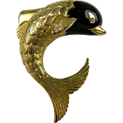 Huge Fish Figure Pin with Enamel and Rhinestone Accents
