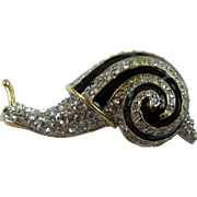 Snail Figure Brooch with Enameling and Rhinestones