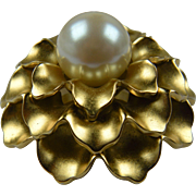 Signed MONET Flower Brooch with Huge Imitation Pearl Center