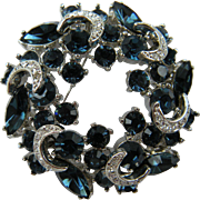"Extra Large Sapphire Blue Rhinestone Brooch with ""Icing"""