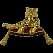 Huge, Signed Bob Mackie Tiger on Pillow Figural Brooch