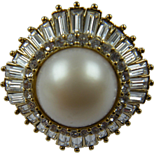 Enormous Cocktail Ring With Imitation Mabe' Pearl and Baguettes - Red Tag Sale Item