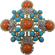 Huge Maltese Cross Brooch/Pendant by Kenneth Jay Lane