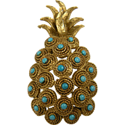 Huge Pineapple Brooch with Imitation Turquoise Accents