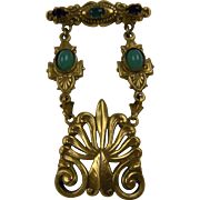 Victorian Revival Fob-Style Brooch with Peking Glass Cabochons