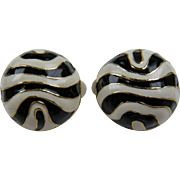 Enameled Zebra Pattern Clip Earrings