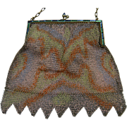 Unsigned Whiting and Davis Dresden Style Mesh Bag with Rhinestone Embellishments