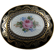 Dainty Guilloche and Enameled Brooch