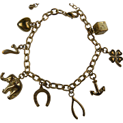 1930's Good Luck Charm Bracelet with Extender Chain
