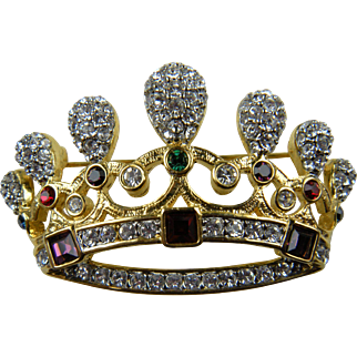 Very Large Crown Brooch with Pave' Crystal Clear Rhinestones