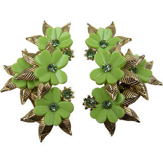 Floral Design Ear Climber Clip Earrings with Chatons
