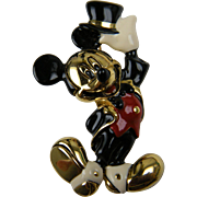 Signed Napier Disney Mickey Mouse Enameled Brooch
