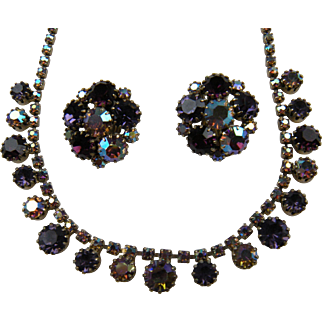 Iridescent Purple Rhinestone Necklace with Matching Earrings