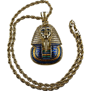 Massive 1980's King Tut Pendant Necklace