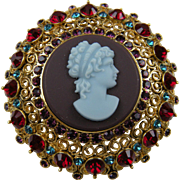 Signed Gold Plated Cameo Brooch with Rhinestones