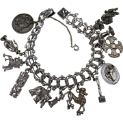 Loaded Sterling Silver 1960's Charm Bracelet