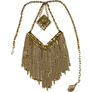 1970's Gold Plated Double Pendant Fringe Necklace