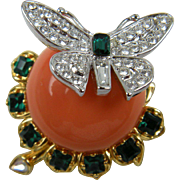 Signed Kenneth Jay Lane Duchess of Windsor Butterfly Brooch