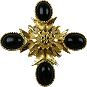 Ornate Maltese Cross Brooch with Black Cabochons