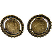 Signed STAR Coin Earrings Commemorating the Marriage of Napoleon to Marie Louise of Austria