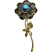 Huge Rhinestone Flower Brooch