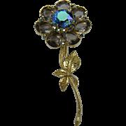 Huge Rhinestone Flower Brooch