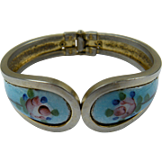 Guilloche Clamper Bracelet with Roses