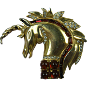 Rare Signed 1940's REINAD Unicorn Brooch Book Piece