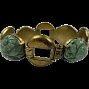 Carved Jadeite Link Sterling Bracelet Marked China