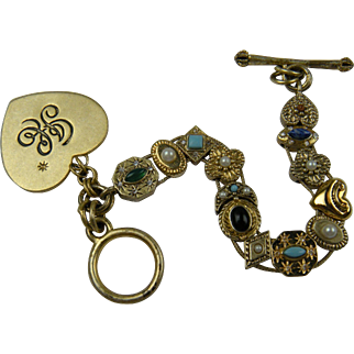Signed Slide Bracelet With Vintage Victorian Revival Charms