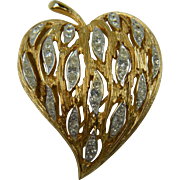 Shimmering Heart Shaped Rhinestone Brooch