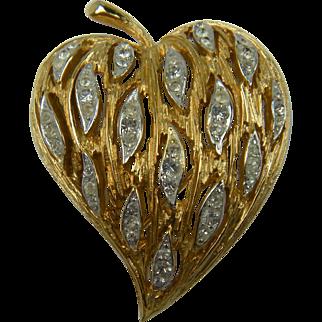 Shimmering Heart Shaped Rhinestone Brooch