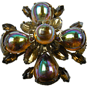 Unsigned Beau Jewels Brooch with Iridescent Cabochons