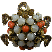 Jeweled Turtle Brooch with Trembler Head