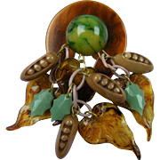 Huge Celluloid Brooch with Dangling Leaves and Corn