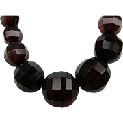 Deep Garnet Colored Faceted Beads Extra Long Necklace