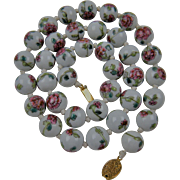 Chinese Import Beaded Necklace Peony with Peony Flowers