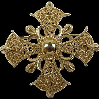Signed TRIFARI Elegant Maltese Cross Brooch