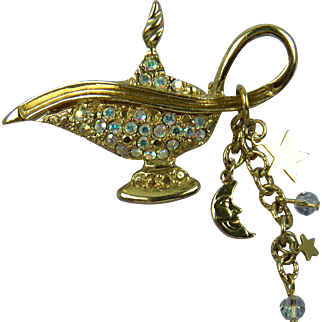 Retired Signed Kirk's Folly Magic Genie Lamp Brooch